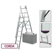 KRAUSE 013378 CORDA 3x7 fokos sokcélú létra lépcsőfunkcióval