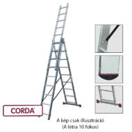 KRAUSE 013408 CORDA 3x10 fokos sokcélú létra lépcsőfunkcióval