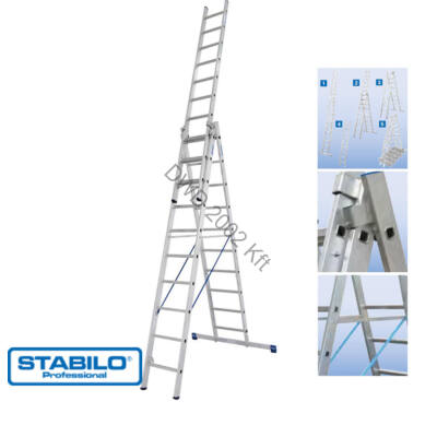 Krause 133762 Stabilo 3X10 fokos sokcélú létra lépcsőfunkcióval /18,5kg;3m/