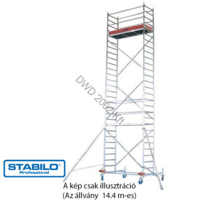 Krause 741417 Stabilo 10-es sorozat 14,40m-es gurulóállvány (2,50mx0,75m mezőhossz)  /297kg/