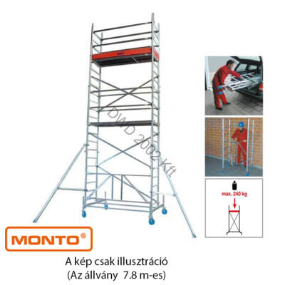 Krause 920058 Monto ProTec XS 7,8m alumínium univerzális gurulóállvány  /154kg;2,70m/